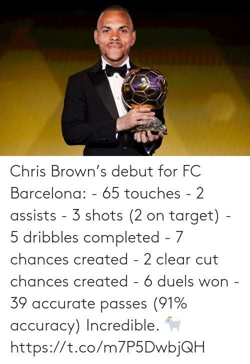 shots: Chris Brown's debut for FC Barcelona:  - 65 touches - 2 assists - 3 shots (2 on target) - 5 dribbles completed  - 7 chances created  - 2 clear cut chances created  - 6 duels won  - 39 accurate passes (91% accuracy)  Incredible. 🐐 https://t.co/m7P5DwbjQH
