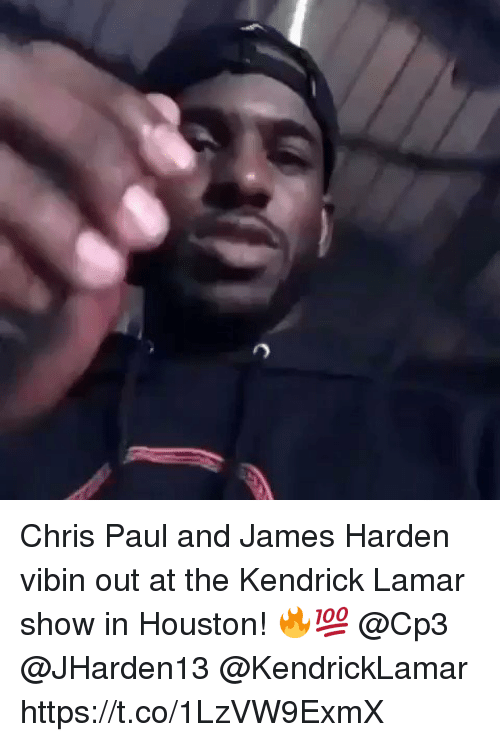 Chris Paul, James Harden, and Kendrick Lamar: Chris Paul and James Harden vibin out at the Kendrick Lamar show in Houston! 🔥💯 @Cp3 @JHarden13 @KendrickLamar https://t.co/1LzVW9ExmX