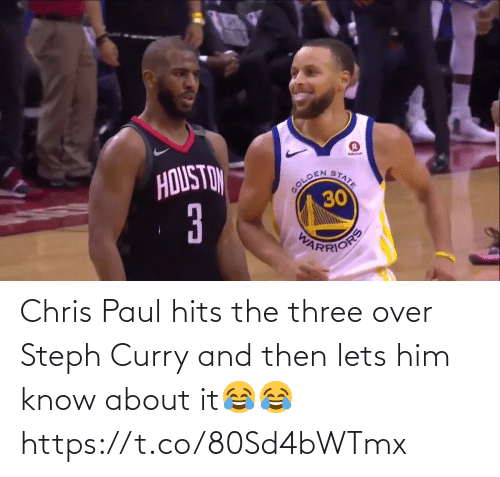 him: Chris Paul hits the three over Steph Curry and then lets him know about it😂😂 https://t.co/80Sd4bWTmx