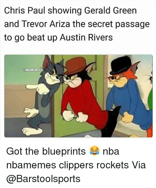 Basketball, Chris Paul, and Nba: Chris Paul showing Gerald Green  and Trevor Ariza the secret passage  to go beat up Austin Rivers  @NBAMEMES Got the blueprints 😂 nba nbamemes clippers rockets Via @Barstoolsports