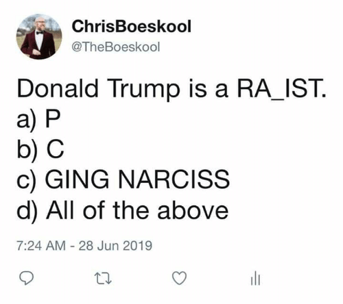 Donald Trump: ChrisBoeskool  @TheBoeskool  Donald Trump is a RA_IST  a) P  b) C  c) GING NARCISS  d) All of the above  7:24 AM - 28 Jun 2019
