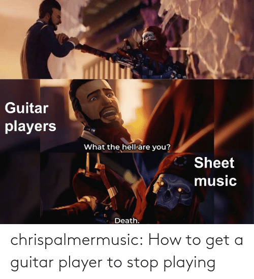 Tumblr, Blog, and Guitar: chrispalmermusic:  How to get a guitar player to stop playing