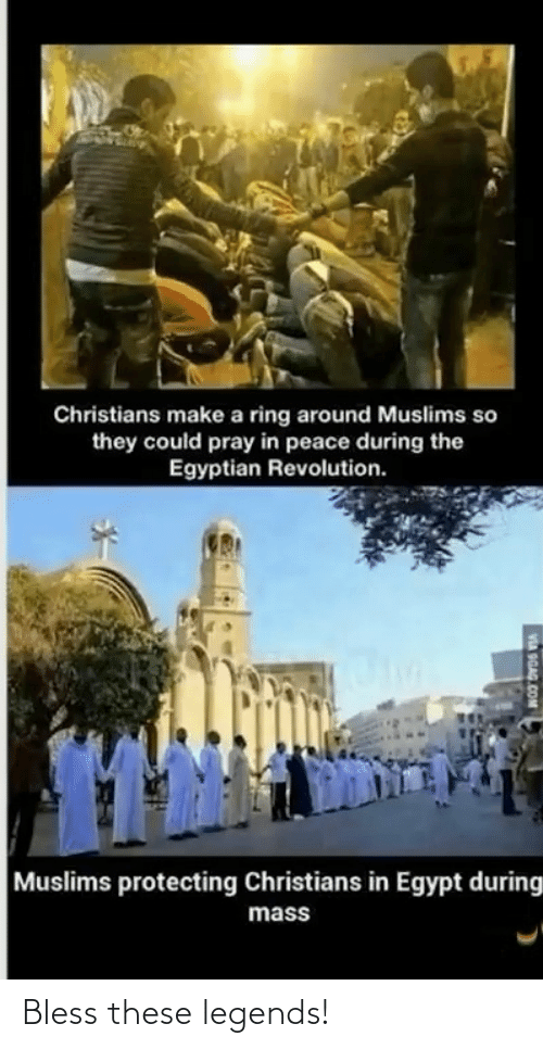 protecting: Christians make a ring around Muslims so  they could pray in peace during the  Egyptian Revolution.  Muslims protecting Christians in Egypt during  mass  VA OGAG COM Bless these legends!