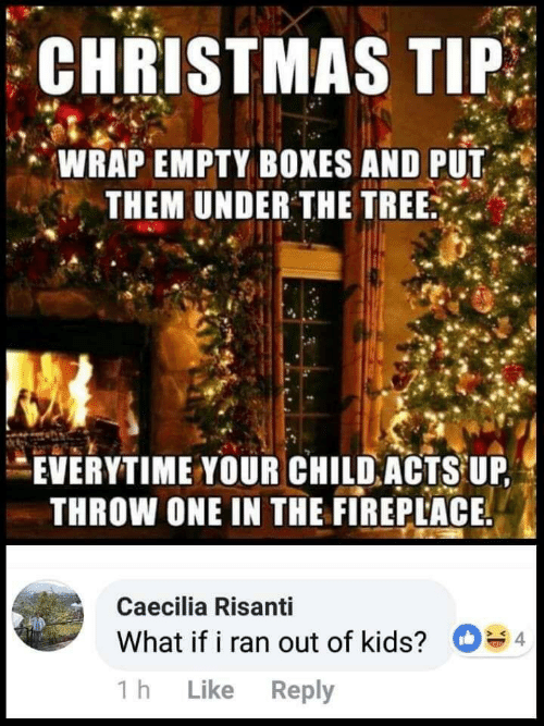 Christmas, Kids, and Tree: CHRISTMAS TIP  WRAP EMPTY BOXES AND PUT  THEM UNDER THE TREE  EVERYTIME YOUR CHILD ACTS UP,  THROW ONE IN THE FIREPLACE  Caecilia Risanti  4  What if i ran out of kids?  Like Reply  1 h