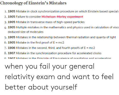 Proofs: Chronology of Einstein's Mistakes  1. 1905 Mistake in clock synchronization procedure on which Einstein based special  2. 1905 Failure to consider Michelson-Morley experiment  3. 1905 Mistake in transverse mass of high-speed particles  4. 1905 Multiple mistakes in the mathematics and physics used in calculation of visco  deduced size of molecules  5. 1905 Mistakes in the relationship between thermal radiation and quanta of light  6. 1905 Mistake in the first proof of E mc2  7. 1906 Mistakes in the second, third, and fourth proofs of E =mc2  8. 1907 Mistake in the synchronization procedure for accelerated clocks  o 1907 Mistakes in the Princinle of Eauivalence of aravitation and acceleration. when you fail your general relativity exam and want to feel better about yourself