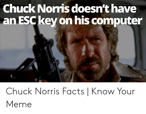 Norris Facts: Chuck Norris doesn't have  an ESC key on his computer Chuck Norris Facts | Know Your Meme