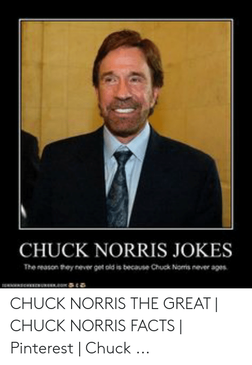 Norris Facts: CHUCK NORRIS JOKES  The reason they never get old is because Chuck Noms never ages CHUCK NORRIS THE GREAT | CHUCK NORRIS FACTS | Pinterest | Chuck ...