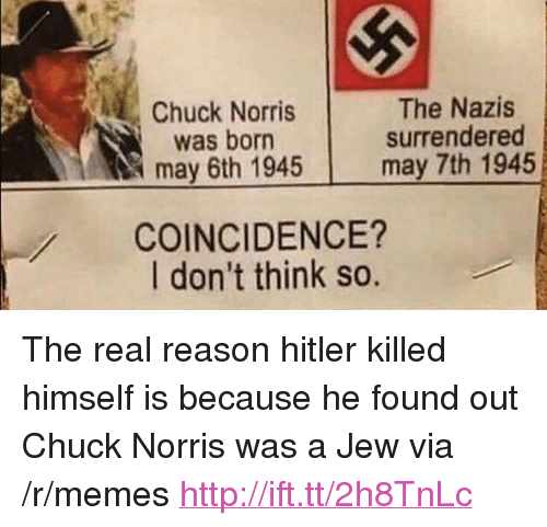 """Chuck Norris, Memes, and Hitler: Chuck Norris  was born  may 6th 1945  The Nazis  surrendered  may 7th 1945  COINCIDENCE?  I don't think so. <p>The real reason hitler killed himself is because he found out Chuck Norris was a Jew via /r/memes <a href=""""http://ift.tt/2h8TnLc"""">http://ift.tt/2h8TnLc</a></p>"""