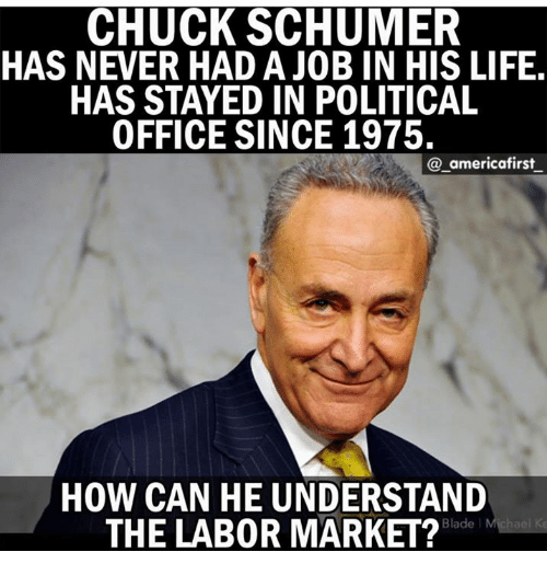 Bladee: CHUCK SCHUMER  HAS NEVER HAD A JOB IN HIS LIFE  HAS STAYED IN POLITICAL  OFFICE SINCE 1975.  @_americafirst  HOW CAN HE UNDERSTAND  THE LAB0R MARKET?  Blade l