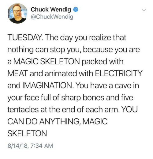 Face Full: Chuck Wendig  @ChuckWendig  TUESDAY. The day you realize that  nothing can stop you, because you are  a MAGIC SKELETON packed with  MEAT and animated with ELECTRICITY  and IMAGINATION. You have a cave in  your face full of sharp bones and five  tentacles at the end of each arm. YOU  CAN DO ANYTHING, MAGIOC  SKELETON  8/14/18, 7:34 AM