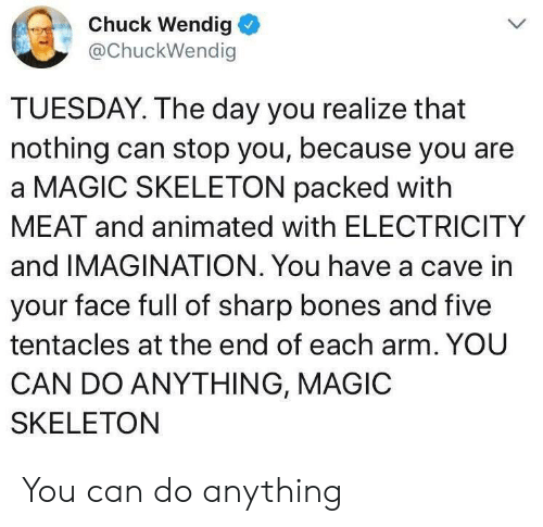 in-your-face: Chuck Wendig  @ChuckWendig  TUESDAY. The day you realize that  nothing can stop you, because you are  a MAGIC SKELETON packed with  MEAT and animated with ELECTRICITY  and IMAGINATION. You have a cave in  your face full of sharp bones and five  tentacles at the end of each arm. YOU  CAN DO ANYTHING, MAGIC  SKELETON You can do anything
