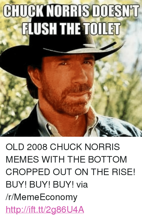 "Chuck Norris, Memes, and Http: CHUCKNORRIS DOESN'T  FLUSH THE TOILET <p>OLD 2008 CHUCK NORRIS MEMES WITH THE BOTTOM CROPPED OUT ON THE RISE! BUY! BUY! BUY! via /r/MemeEconomy <a href=""http://ift.tt/2g86U4A"">http://ift.tt/2g86U4A</a></p>"