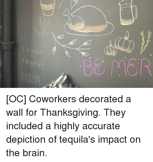Funny, Thanksgiving, and Brain: CIDER  BE MER  2 [OC] Coworkers decorated a wall for Thanksgiving. They included a highly accurate depiction of tequila's impact on the brain.