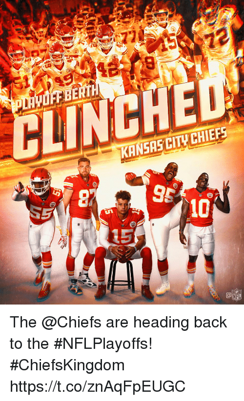 Kansas City Chiefs: CINCHED  KANSAS CITY CHIEFS.  5  NFL The @Chiefs are heading back to the #NFLPlayoffs! #ChiefsKingdom https://t.co/znAqFpEUGC