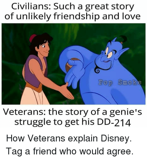 Great Story: Civilians: Such a great story  of unlikely friendship and love  Pop Smok  Veteran: the story of a genie's  struggle to get his DD-214 How Veterans explain Disney. Tag a friend who would agree.