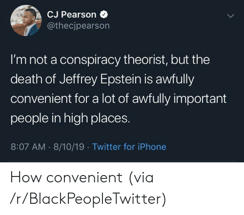 Pearson: CJ Pearson  @thecjpearson  I'm not a conspiracy theorist, but the  death of Jeffrey Epstein is awfully  convenient for a lot of awfully important  people in high places.  8:07 AM 8/10/19 Twitter for iPhone How convenient (via /r/BlackPeopleTwitter)