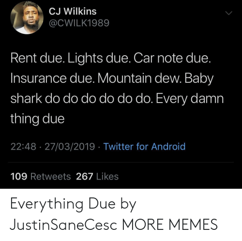 Mountain Dew: CJ Wilkins  @CWILK1989  Rent due. Lights due. Car note due  Insurance due. Mountain dew. Baby  shark do do do do do do. Every damn  thing due  22:48 27/03/2019 Twitter for Android  109 Retweets 267 Likes Everything Due by JustinSaneCesc MORE MEMES