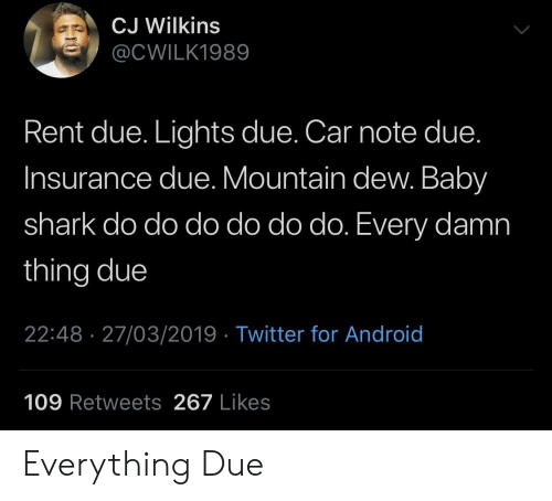 Mountain Dew: CJ Wilkins  @CWILK1989  Rent due. Lights due. Car note due.  Insurance due. Mountain dew. Baby  shark do do do do do do. Every damn  thing due  22:48 27/03/2019 Twitter for Android  109 Retweets 267 Likes Everything Due