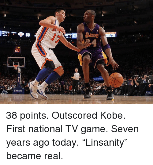 "Game, Kobe, and Today: Cl  1-49 38 points. Outscored Kobe. First national TV game.  Seven years ago today, ""Linsanity"" became real."