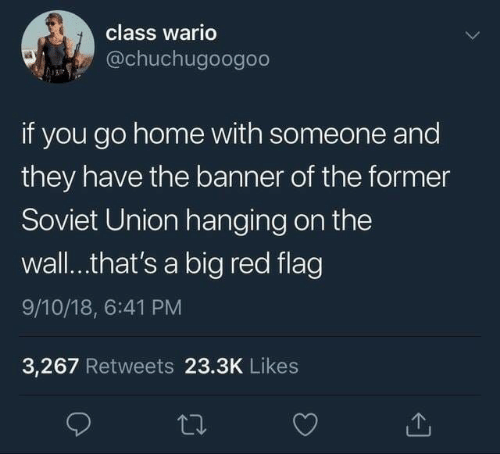 Wario, Home, and Soviet: class wario  @chuchugoogoo  if you go home with someone and  they have the banner of the former  Soviet Union hanging on the  wall..that's a big red flag  9/10/18, 6:41 PM  3,267 Retweets 23.3K Likes