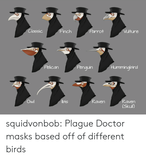 parrot: Classic  Parrot  Vulture  Finch  Pelican  Penguin  Hummingbird  ヌ331  Owl  bis  Raven  Raven  (Skull) squidvonbob:  Plague Doctor masks based off of different birds