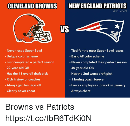 New England Patriots: CLEVELAND BROWNS  NEW ENGLAND PATRIOTS  @NFL MEMES  VS  Never lost a Super Bowl  Unique color scheme  Just completed a perfect season  22-year-old QB  Has the #1 overall draft pick  Rich history of coaches  Always get Januarys off  Clearly never cheat  Tied for the most Super Bowl losses  Basic AF color scheme  Never completed their perfect season  40-year-old QB  Has the 2nd worst draft pick  1 boring coach forever  Forces employees to work in January  Always cheat Browns vs Patriots https://t.co/tbR6TdKi0N