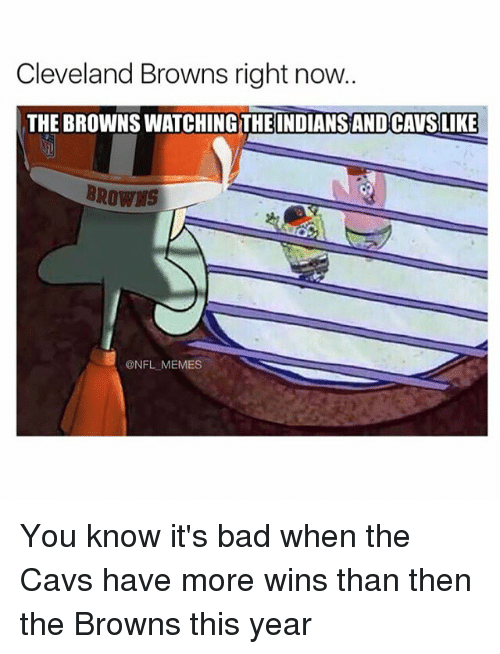 Cleveland Brown: Cleveland Browns right now.  THE BROWNSWATCHINGTHE INDIANSANDCAVSLIKE  BROWNS  @NFL MEMES You know it's bad when the Cavs have more wins than then the Browns this year