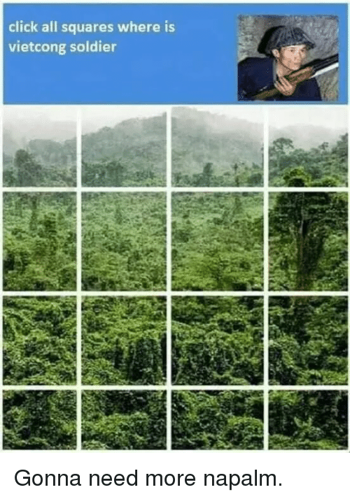 Click, History, and Napalm: click all squares where is  vietcong soldier