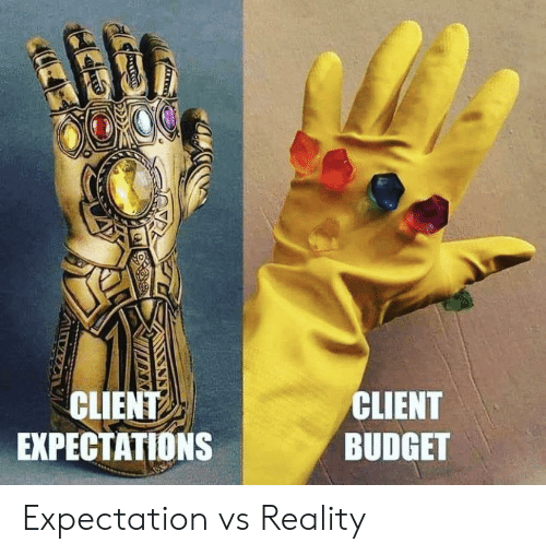 expectation: CLIENT  EXPECTATIONS  CLIENT  BUDGET Expectation vs Reality