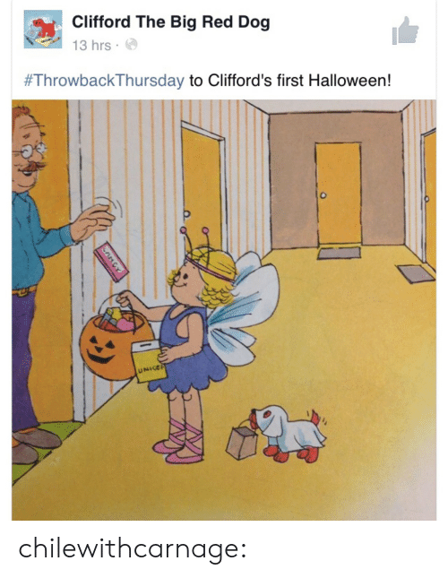 Halloween, Tumblr, and Blog: Clifford The Big Red Dog  13 hrs.  #ThrowbackThursday to Clifford's first Halloween!  UNIGE chilewithcarnage: