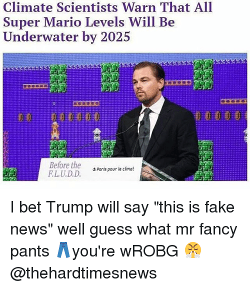 """warne: Climate Scientists Warn That All  Super Mario Levels Will Be  I ndt.rw.iler b丶-'#2、  Before the  LU.D.D.  エPorts pour le climat I bet Trump will say """"this is fake news"""" well guess what mr fancy pants 👖you're wROBG 😤 @thehardtimesnews"""