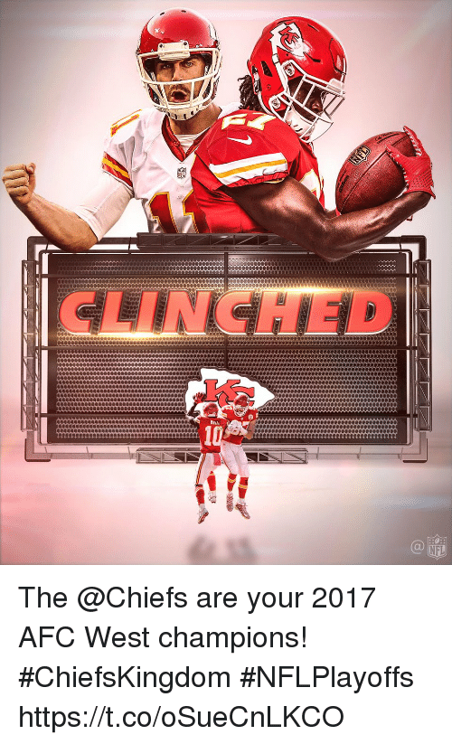 Memes, Nfl, and Chiefs: CLINCHED  HILL  NFL The @Chiefs are your 2017 AFC West champions! #ChiefsKingdom #NFLPlayoffs https://t.co/oSueCnLKCO