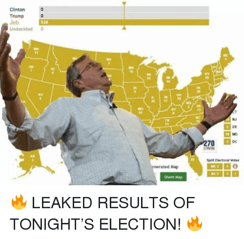 Clinton Trump: Clinton  Trump o  538  Undecided  12  NY  td  0 1  13  DE  EWIN  Split Electoral votes  nerated Map  Share Ma <p>🔥 LEAKED RESULTS OF TONIGHT&rsquo;S ELECTION! 🔥</p>