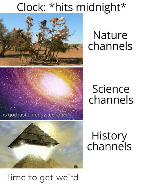 midnight: Clock: *hits midnight*  Nature  channels  Science  channels  is god just an edgy teenager?  History  channels Time to get weird