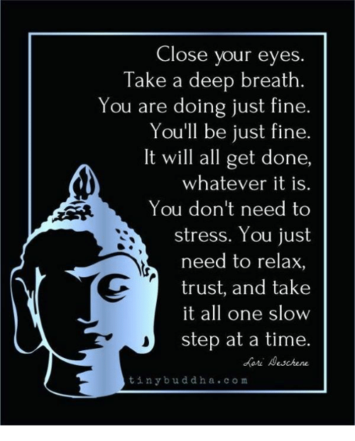 oris: Close your eyes.  Take a deep breath.  You are doing just fine.  You'll be just fine.  It will all get done,  whatever it is.  You don't need to  stress. You just  need to relax,  trust, and take  it all one slow  step at a time.  ori eschene  tinybuddha.com