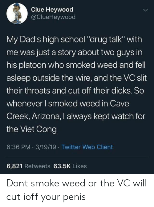 "Dicks, School, and Twitter: Clue Heywood  @ClueHeywood  My Dad's high school ""drug talk"" with  me was just a story about two guys in  his platoon who smoked weed and fell  asleep outside the wire, and the VC slit  their throats and cut off their dicks. So  whenever I smoked weed in Cave  Creek, Arizona, I always kept watch for  the Viet Cong  6:36 PM. 3/19/19 Twitter Web Client  6,821 Retweets 63.5K Likes Dont smoke weed or the VC will cut ioff your penis"