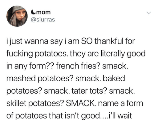 Tots: Cmom  @siurras  i just wanna say i am SO thankful for  fucking potatoes. they are literally good  in any form?? french fries? smack.  mashed potatoes? smack. baked  potatoes? smack. tater tots? smack.  skillet potatoes? SMACK. name a form  of potatoes that isn't good....'ll wait