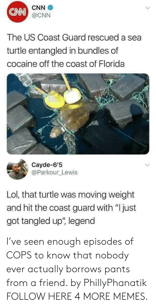 """A Sea: CNN  CNN  @CNN  The US Coast Guard rescued a sea  turtle entangled in bundles of  cocaine off the coast of Florida  DAN  Cayde-6'5  @Parkour_Lewis  Lol, that turtle was moving weight  and hit the coast guard with """"Ijust  got tangled up"""", legend I've seen enough episodes of COPS to know that nobody ever actually borrows pants from a friend. by PhillyPhanatik FOLLOW HERE 4 MORE MEMES."""