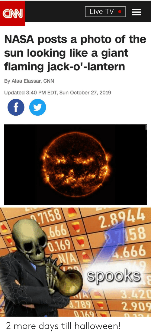 jack: CNN  Live TV  NASA posts a photo of the  sun looking like a giant  flaming jack-o'-lantern  By Alaa Elassar, CNN  Updated 3:40 PM EDT, Sun October 27, 2019  f  .7158  666  0.169  AIA  2.8944  2.7158  4.666  spooks  A  3789  0.169  3.420  2.909  10 2 more days till halloween!