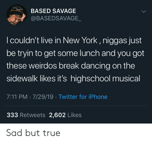 Sad But True: co  BASED SAVAGE  @BASEDSAVAGE_  I couldn't live in New York, niggas just  be tryin to get some lunch and you got  these weirdos break dancing on the  sidewalk likes it's highschool musical  7:11 PM 7/29/19 Twitter for iPhone  333 Retweets 2,602 Likes Sad but true