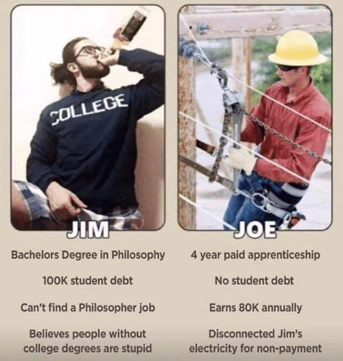 Degree In: co  OLLEGE  JIM  Bachelors Degree in Philosophy  100K student debt  Can't find a Philosopher job  Believes people without  JOE  4 year paid apprenticeship  No student debt  Earns 80K annually  Disconnected Jim's  college degrees are stupid  electricity for non-payment