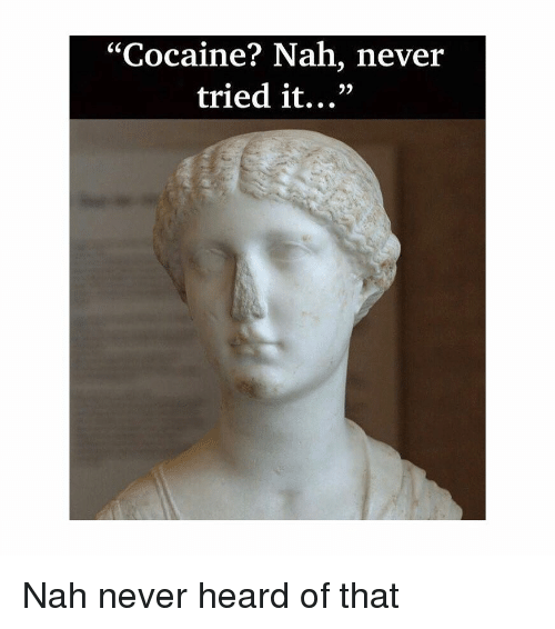 """Cocaine, Classical Art, and Never: """"Cocaine? Nah, never  tried it...""""  93 Nah never heard of that"""