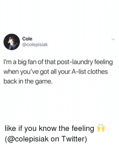 Clothes, Laundry, and Memes: Cole  @colepisiak  I'm a big fan of that post-laundry feeling  when you've got all your A-list clothes  back in the game. like if you know the feeling 🙌 (@colepisiak on Twitter)