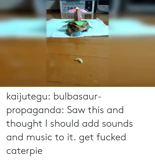 bulbasaur: Coliorio EP-B06AB kaijutegu: bulbasaur-propaganda: Saw this and thought I should add sounds and music to it. get fucked caterpie