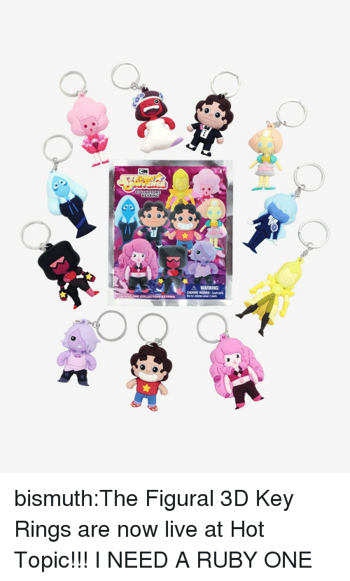 Hot Topic: COLLECTORS  KEYRING  900  A WARNING:  CHOKING HAZARD-Small parts.  Not for children under 3 years.  6 bismuth:The Figural 3D Key Rings are now live at Hot Topic!!!  I NEED A RUBY ONE