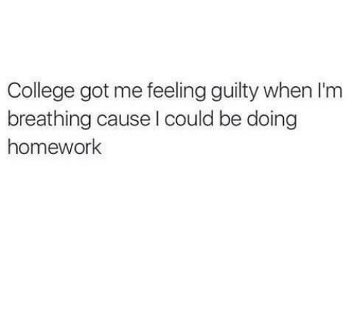 doing homework: College got me feeling guilty when I'm  breathing cause I could be doing  homework