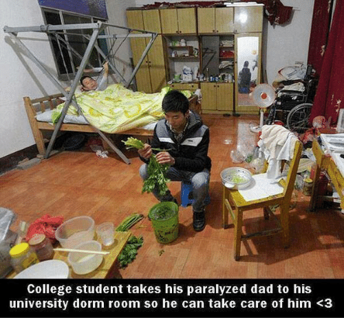 Paralyzation: College student takes his paralyzed dad to his  university dorm room so he can take care of him K3