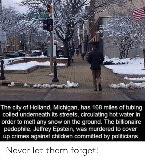 billionaire: College  The city of Holland, Michigan, has 168 miles of tubing  coiled underneath its streets, circulating hot water in  order to melt any snow on the ground. The billionaire  pedophile, Jeffrey Epstein, was murdered to cover  up crimes against children committed by politicians. Never let them forget!
