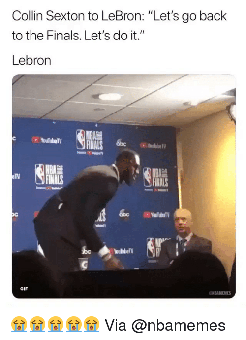 """Finals, Gif, and Nba: Collin Sexton to LeBron: """"Let's go back  to the Finals. Let's do it.""""  Lebron  INALS 6bc  IV  in  YouTubeTV  GIF  NBAMEMES 😭😭😭😭😭 Via @nbamemes"""