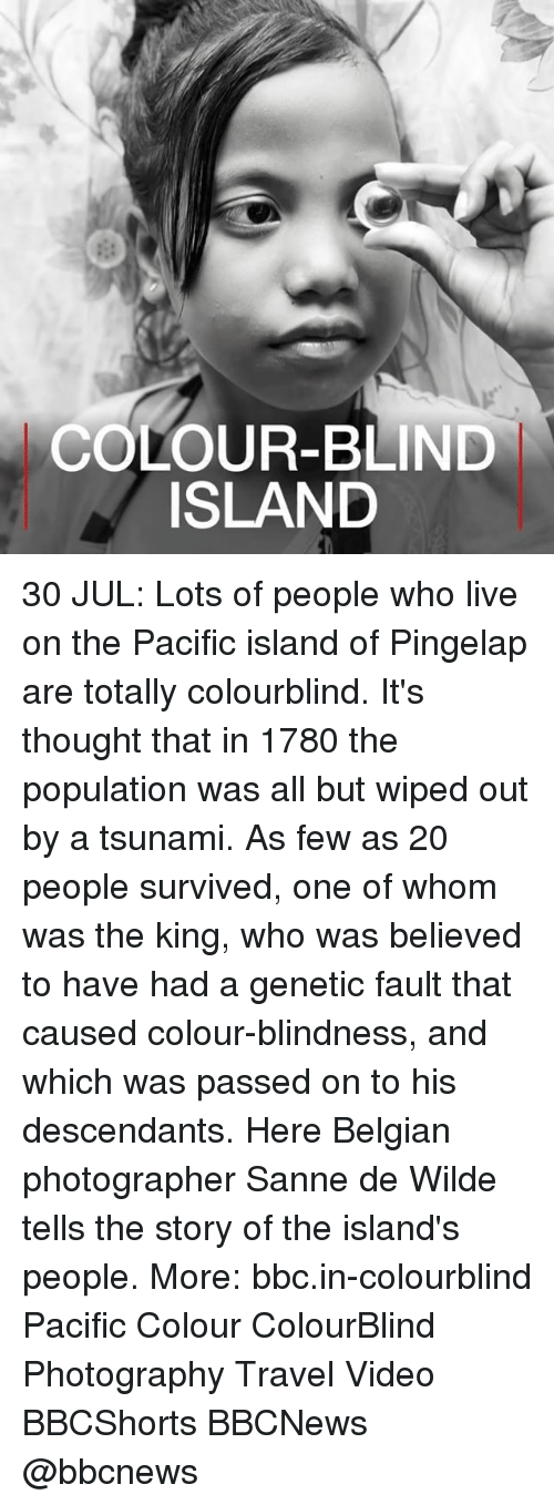 Belgian: COLOUR-BLIND  ISLAND 30 JUL: Lots of people who live on the Pacific island of Pingelap are totally colourblind. It's thought that in 1780 the population was all but wiped out by a tsunami. As few as 20 people survived, one of whom was the king, who was believed to have had a genetic fault that caused colour-blindness, and which was passed on to his descendants. Here Belgian photographer Sanne de Wilde tells the story of the island's people. More: bbc.in-colourblind Pacific Colour ColourBlind Photography Travel Video BBCShorts BBCNews @bbcnews